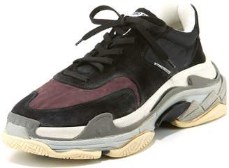 Balenciaga Men's Triple S Mesh & Leather Sneakers, Dark Red