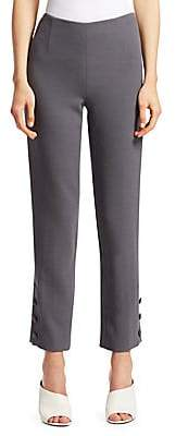 Lela Rose Women's Stretch-Wool Button-Hem Pants
