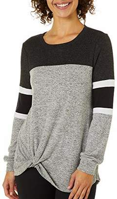 Miss Chievous Junior's Long Sleeve Cozy Color Blocked Pullover with Twist Front