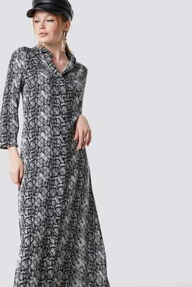 Na Kd Trend Snake Printed Ankle Shirt Dress Snake Print