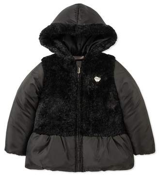 Juicy Couture Black Faux Fur Trimmed Puffer Jacket (Little Girls)