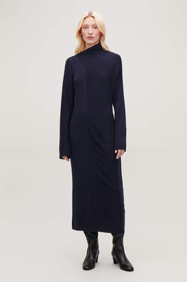 Cos DRAPED-NECK RIBBED WOOL DRESS