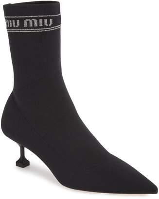 Miu Miu Logo Sock Bootie