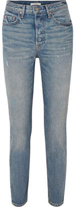 GRLFRND Karolina Distressed High-rise Skinny Jeans - Light denim