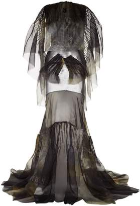 Maticevski Metallic Cape Gown