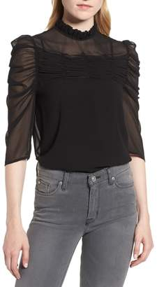 Chelsea28 Shirred Ruffle Neck Top