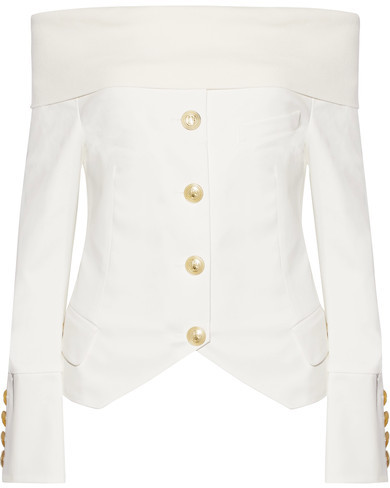 Balmain Pierre Balmain - Off-the-shoulder Jersey-trimmed Stretch-cotton Twill Top - White