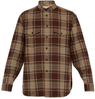 Gucci Checked Wool Blend Shirt - Mens - Brown