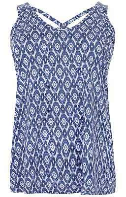 Yours Clothing Women's Plus Size Printed V-neck Vest Top With Cross Back Detail
