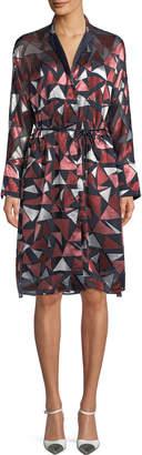 Lafayette 148 New York Calleigh Geometric-Print Duster Dress