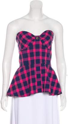 Tanya Taylor Fiona Bustier Gingham Top w/ Tags