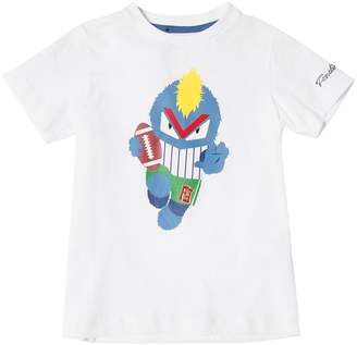 Fendi Football Print Cotton Jersey T-Shirt