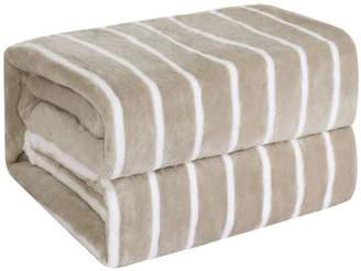 """Unique Bargains Flannel Fleece Blankets Soft Blanket for Bed Couch Brown Stripe Full, 71"""" x 79"""""""