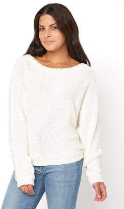 Neely Baseball Stitch Dolman Sleeve Boat Neck Pullover