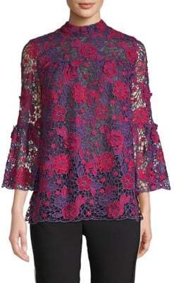 Anna Sui Flowers From A Fan Lace Blouse