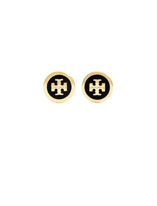 Tory Burch ENAMELED RAISED-LOGO STUD EARRING