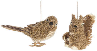 Three Posts 2 Piece Knit Bird and Squirrel Christmas Ornament Set