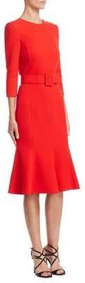 Oscar de la Renta Roundneck Belted Dress