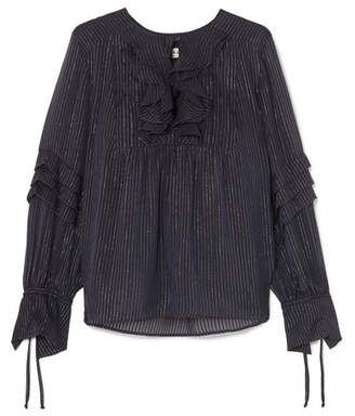 Paul & Joe Ruffled Metallic Striped Silk-blend Chiffon Blouse - Navy