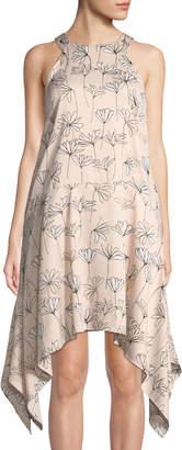 Maggy London Halter Floral-Print Handkerchief Dress