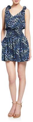 Rebecca Taylor Ava Smocked Floral-Print Short Jumpsuit
