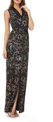 Kay Unger Velvet Print Gown