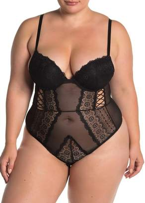 SECRET LACE Underwire Demi Cup Bodysuit (Plus Size)