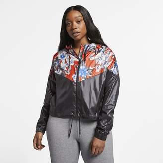 Nike Women s Cropped Floral Jacket (Plus Size Sportswear Windrunner aa9a76e49