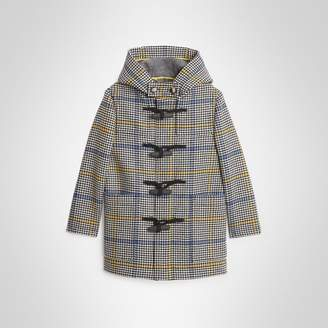 Burberry Childrens Houndstooth Check Wool Cashmere Duffle Coat