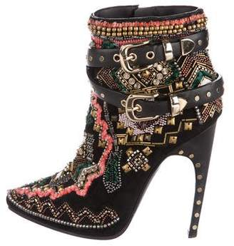 Emilio Pucci Suede Beaded Ankle Boots
