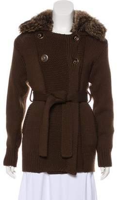 Gucci Fur Trimmed Wool Jacket