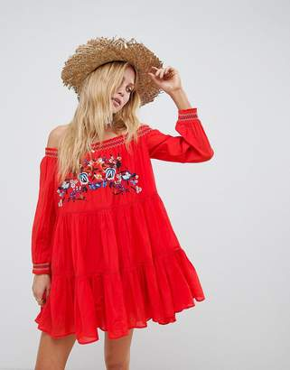 Free People Sunbeams Embroidered Off Shoulder Dress