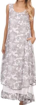 Sakkas 16222 - Paak Tall Long Batik Paisely Print Ruffle Hem Lined Caftan Tank Top Dress