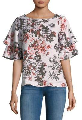 Lord & Taylor Ruffle-Sleeve Floral-Print Blouse