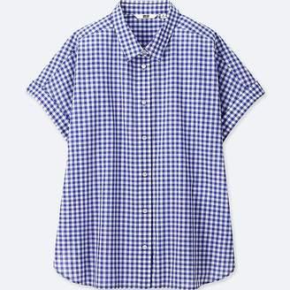 Uniqlo Women's Soft Cotton Checked Short-sleeve Shirt