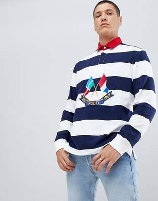 Polo Ralph Lauren Bring It Back Embroidery Flags Long Sleeve Stripe Rugby Polo Contrast Collar In White/Navy/Red