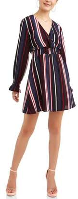 Almost Famous Juniors' Long Peasant Sleeve Smocked Waist Dress