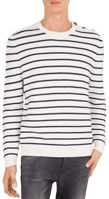 The Kooples Striped Cotton & Cashmere Crewneck Sweater