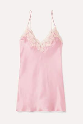 La Perla Maison Embroidered Lace-trimmed Silk-blend Satin Chemise - Pastel pink