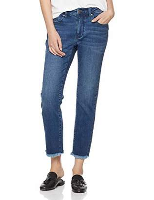 PD Peppered Denim Women's Mid-Rise Slim-Straight Fit Ankle Cut-Off Jeans (