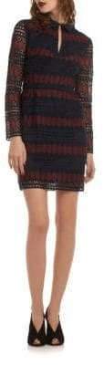 Trina Turk Stripe Lace Keyhole Mini Dress