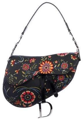 Christian Dior Floral Canvas Saddle Bag