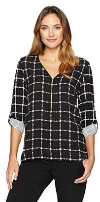 Chaus Women's Roll Tab Zip Front Plaid Mixed Media Top
