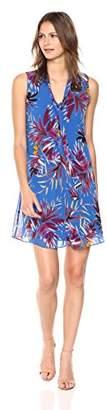 Calvin Klein Women's Sleeveless Chiffon Shift Dress with Neck Tie