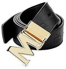MCM Men's Embossed Logo Leather Belt
