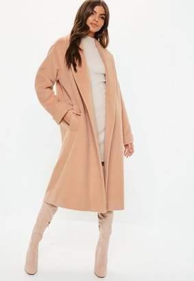 Missguided Nude Shawl Brushed Wool Midi Coat 290875b62