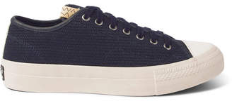 Visvim Skagway Lo Dogi Woven Canvas and Leather Sneakers - Men - Navy