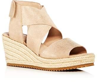 Eileen Fisher Women's Willow Nubuck Leather Platform Espadrille Sandals