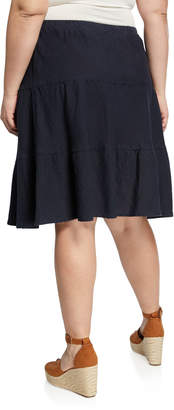 Allen Allen Plus Plus Size Linen Tiered A-Line Skirt