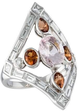 Vera WangVera Wang Platinum Diamond, Hessonite Garnet, & Morganite Ring